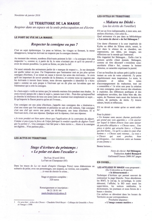 news janvier 2016