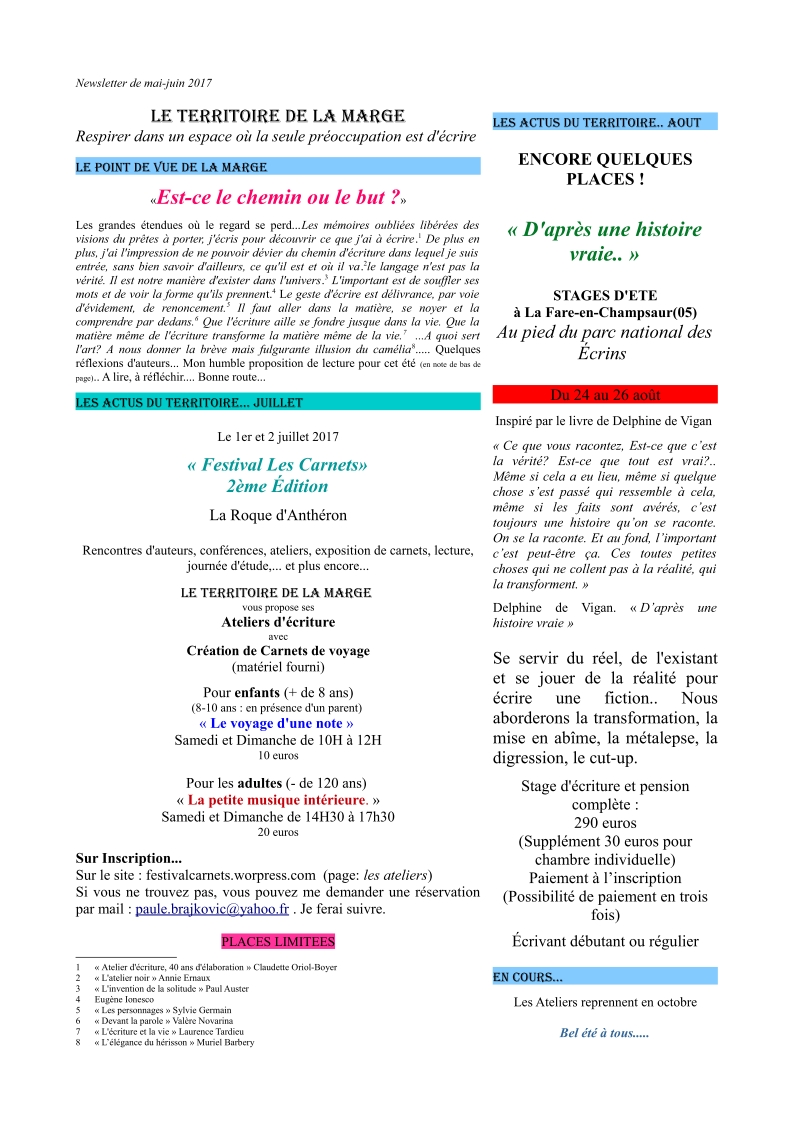 newsletter mai juin 2017